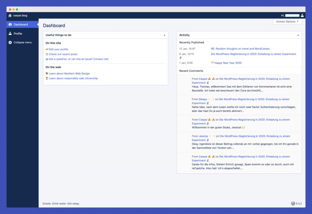 Subscriber Dashboard im elegant blauen Farbschema von Altis