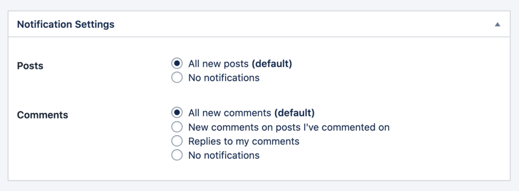 Granulare Benachrichtigungseinstellungen für Beiträge und Kommentare