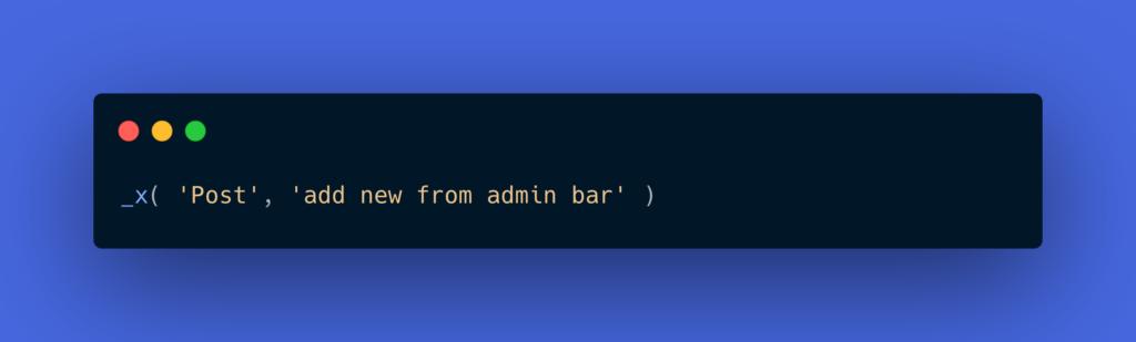 _x( 'Post', 'add new from admin bar' )