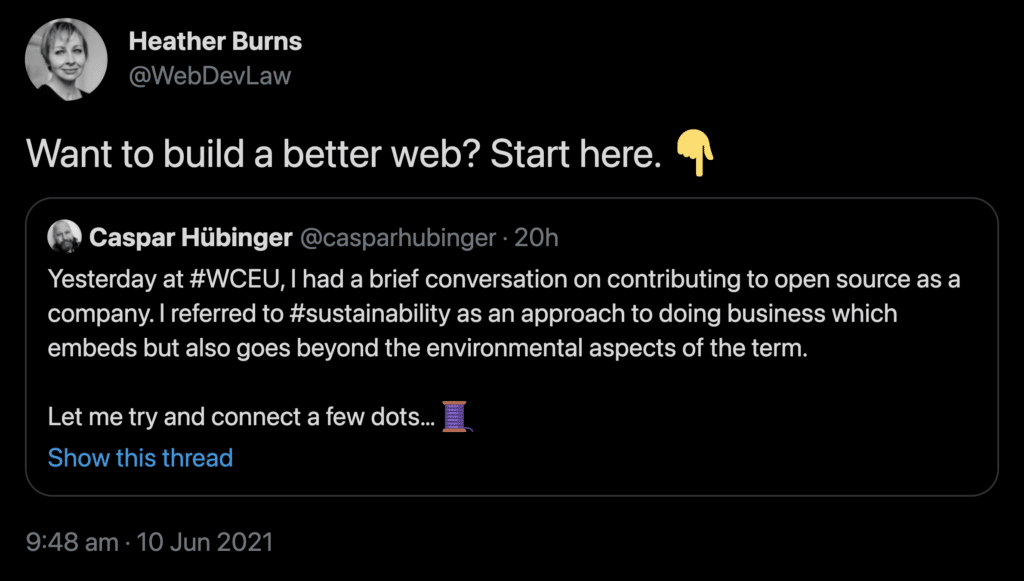 """Go to retweet by Heather Burns (@WebDevLaw): """"Want to build a better web? Start here."""""""